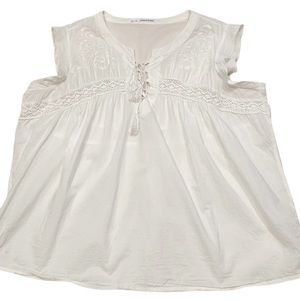 Maurices White Boho Babydoll Top Embroidered 2X